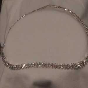 Gorgeous AB Crystal.and silver XO pattern Necklace